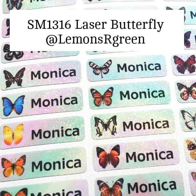 SM1316 Laser Butterfly Waterproof Name Stickers