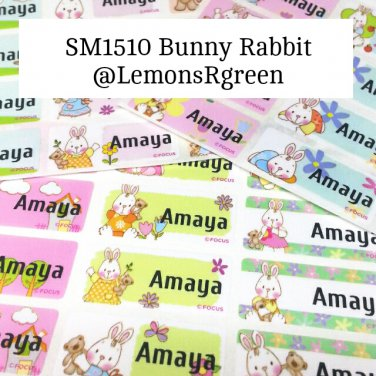 SM1510 Bunny Rabbit Waterproof Name Stickers Easter