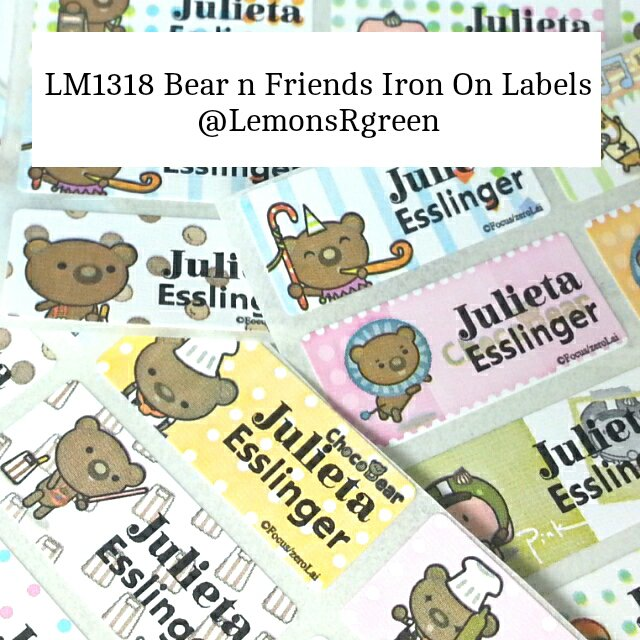 LM1318 Bear n Friends Iron On Labels