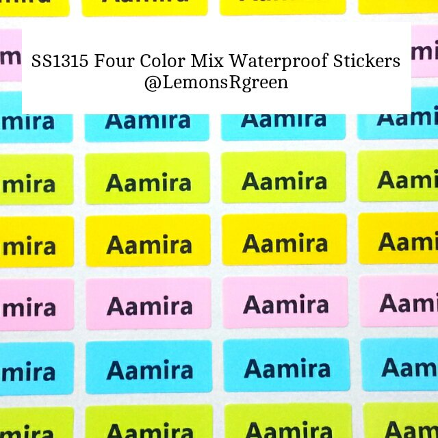 SS1315 Four Color Mix Waterproof Name Stickers