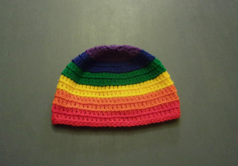 Large Rainbow Gay Pride LGBT Winter Beanie
