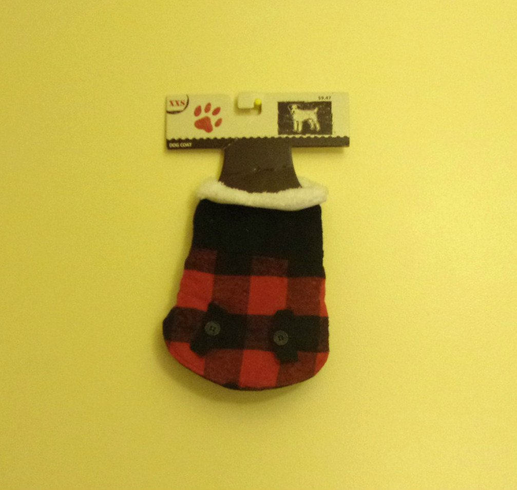 XXS Dept. 08 Dog Coat Red and Black Plaid