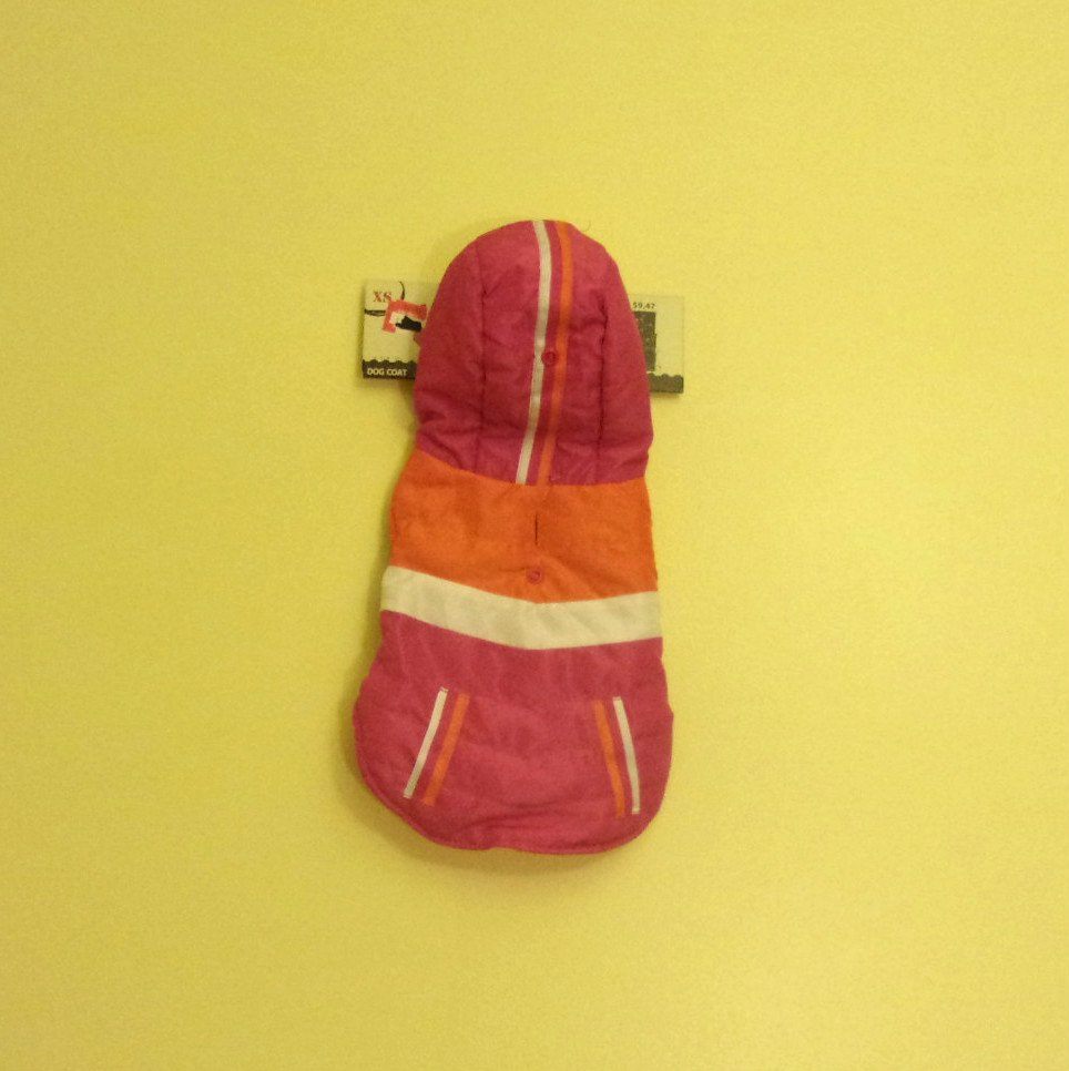 XS Dept. 08 Dog Coat Pink w/Orange and White