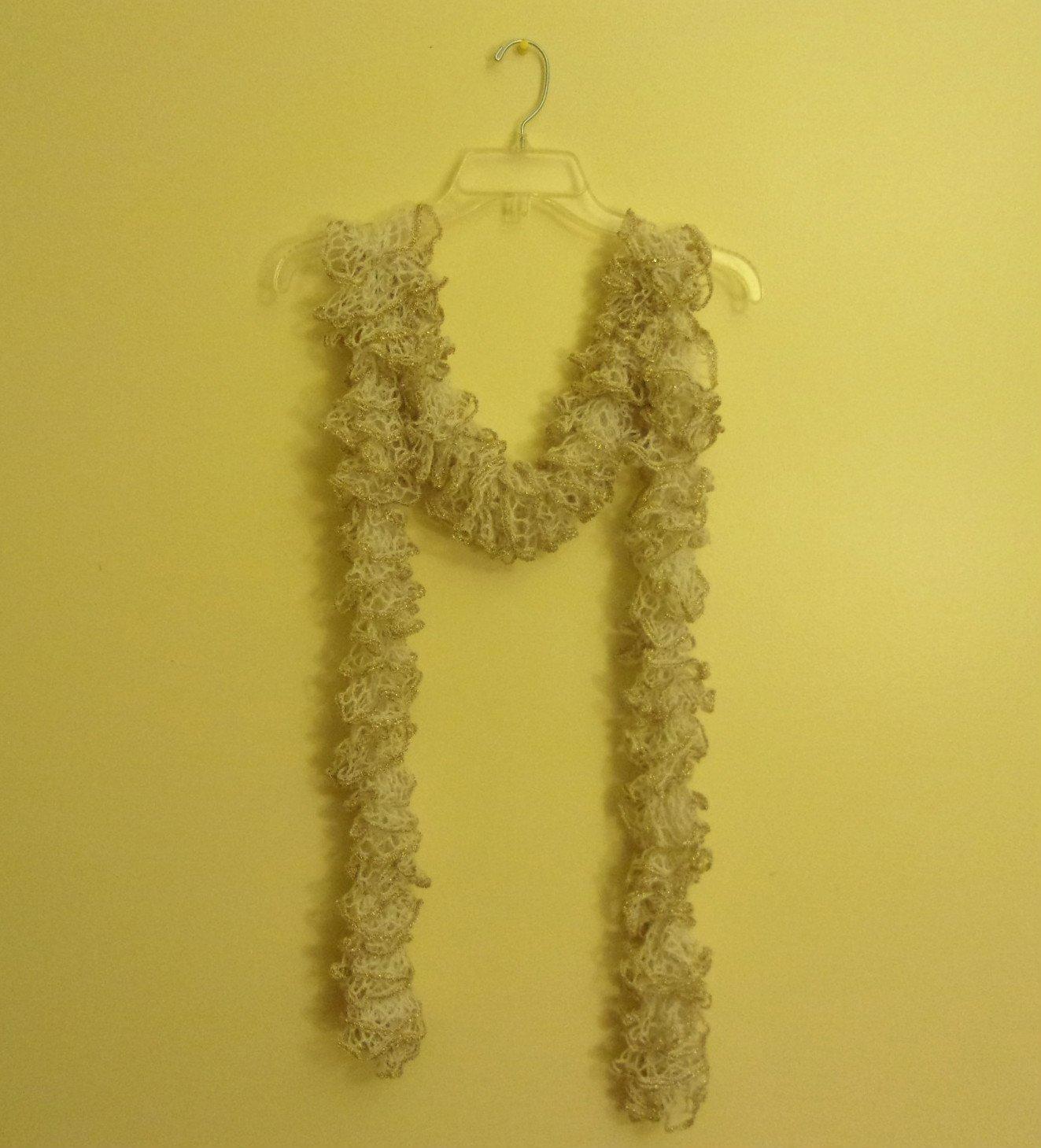 Women's Teen Ruffle Scarf Scarves White & Gold