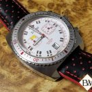 Vintage Diver Style ZODIAC SEA DRAGON Chronograph Red Leather 42MM Watch ZO2243