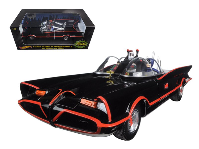 1966 TV Series Batmobile With Batman & Robin Figures 1/18 Diecast Model Car by Hotwheels