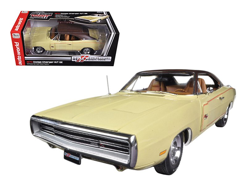 1970 Dodge Charger RT/SE 440 Six Pack Cream Dodge Limited  1/18 Diecast Car Model by Autoworld