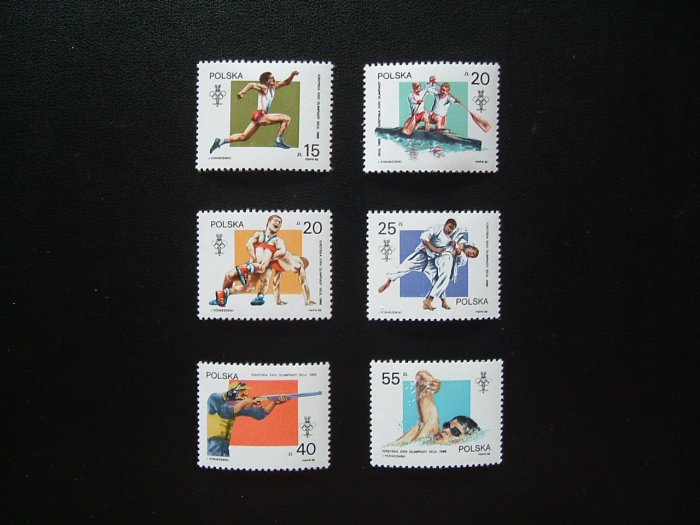 POLAND SUMMER OLYMPIC GAMES SEOUL STAMPS 1988