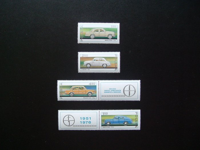 POLAND 25 YEARS FSO (PASSENGER CAR FACTORY) STAMPS 1976