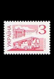 UKRAINE AUTO BUS STAMPS PAGE 100 THREE KOPIYOK STAMPS 2002