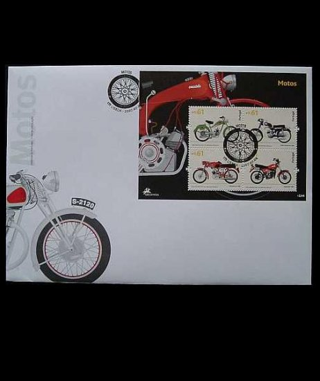 MOTORCYCLES IN PORTUGAL STAMPS FIRST DAY COVER 2007