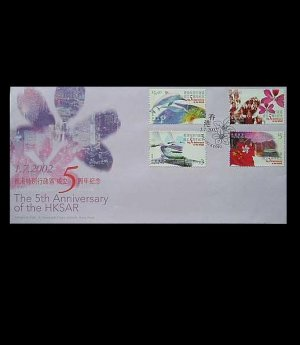 HONG KONG THE 5th ANNIVERSARY OF HKSAR STAMPS FIRST DAY COVER 2002