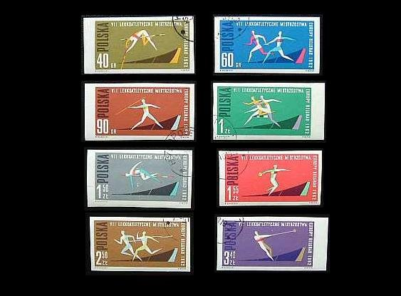 POLAND EUROPEAN ATHLETICS CHAMPIONSHIPS  BELGRADE YUGOSLAVIA  STAMPS 1962