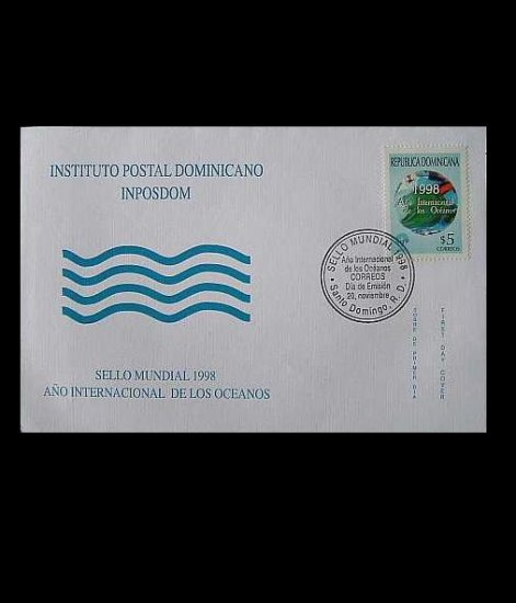 DOMINICAN REPUBLIC INTERNATIONAL YEAR OF THE OCEAN STAMP FIRST DAY COVER 1998
