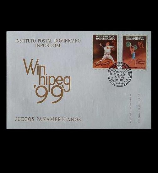DOMINICAN REPUBLIC WINNIPEG PAN AMERICAN GAMES STAMPS FIRST DAY COVER 1999