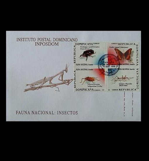 DOMINICAN REPUBLIC  FAUNA NACIONAL INSECTS STAMPS FIRST DAY COVER 1999