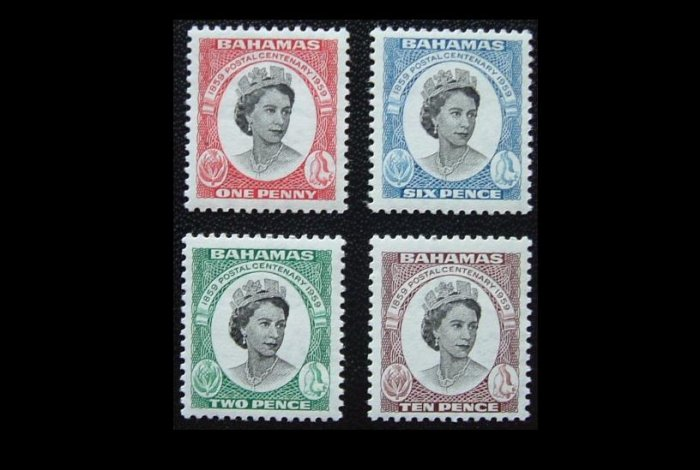 BAHAMAS QUEEN ELIZABETH II POSTAL CENTENARY STAMPS 1959