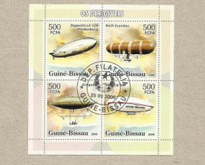 GUINEA BISSAU ZEPPELIN AIRSHIP PAGE OF FOUR STAMPS MINISHEET 2006