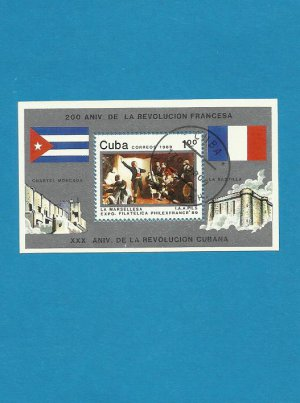 CUBA 1989 FRENCH REVOLUTION PHILEX FRANCE STAMP MINIPAGE