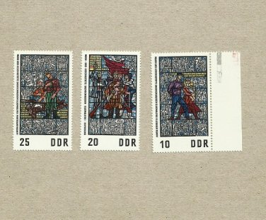 EAST GERMANY DDR SET THREE STAINED GLASS WINDOWS FROM SACHESENHAUSEN 1968