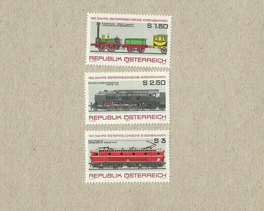 AUSTRIA 140th ANNIVERSARY OF THE RAILWAY TRAIN STAMPS 1977
