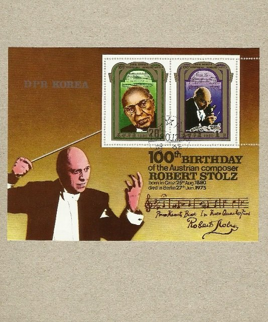 NORTH DPR KOREA 100th ANNIVERSARY OF BIRTH COMPOSER ROBERT STOLZ STAMP MINIPAGE 1980
