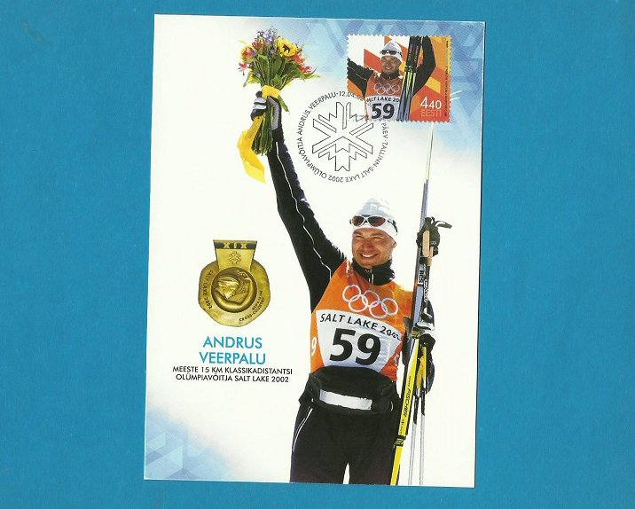 ESTONIA ANDRUS VEERPALU OLYMPIC GOLD MEDAL MAXIMUM CARD 2002