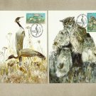 MOLDOVA PAIR OF BIRDS OWL AND CRANE MAXIMUM CARDS POSTCARDS 1998