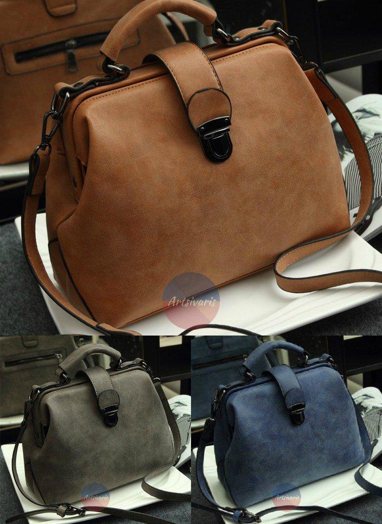 Artsivaris Women Leather Handbag Vintage Travel Casual Doctor Bag Clutch Satchel