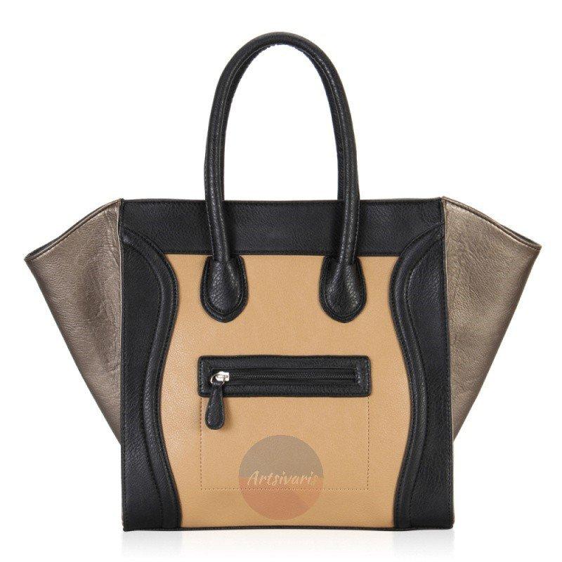 Artsivaris NEW Fashion Women Leather Handbag Vintage Gold Purse Travel Tote Bag