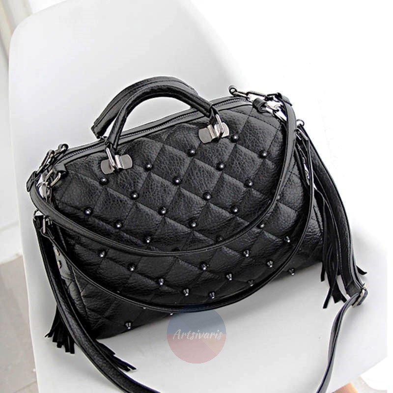 Artsivaris NEW Women Leather Handbag Edgy Tote Bag Travel Shopper Tassel Satchel