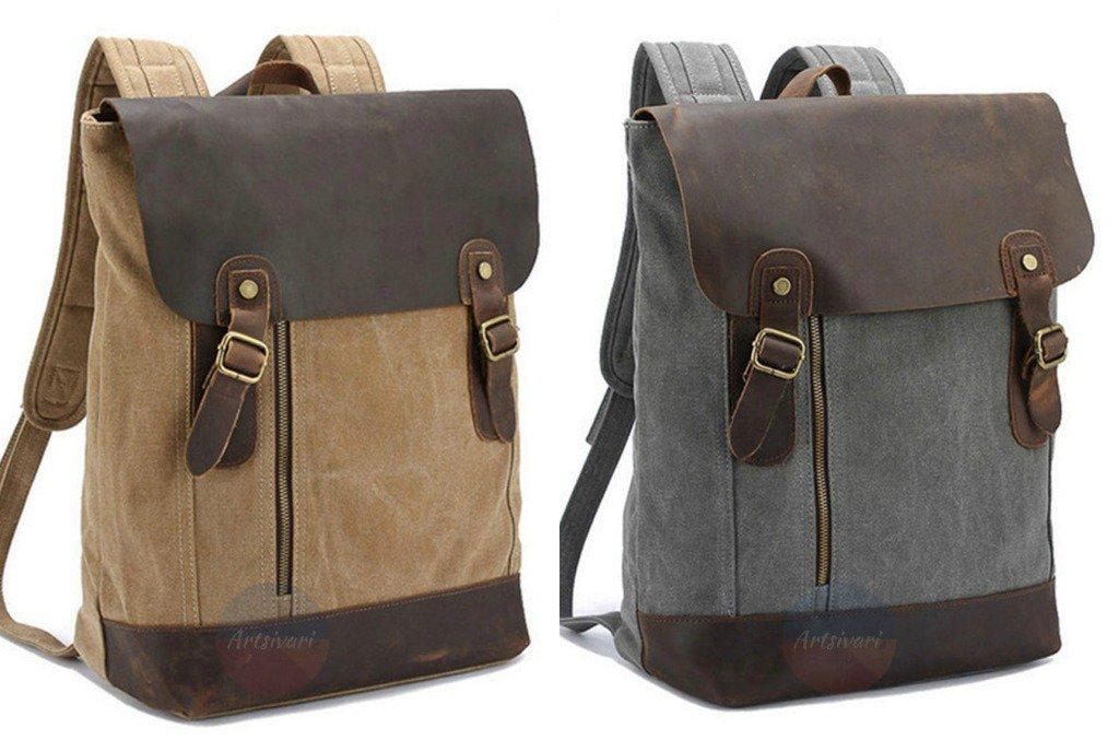 Artsivaris NEW Men Women Vintage Nylon Leather Backpack Big Travel Rucksack Bag