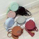 Artsivaris Fashion Round Small Leather Shoulder Bag Tassel Crossbody Messenger