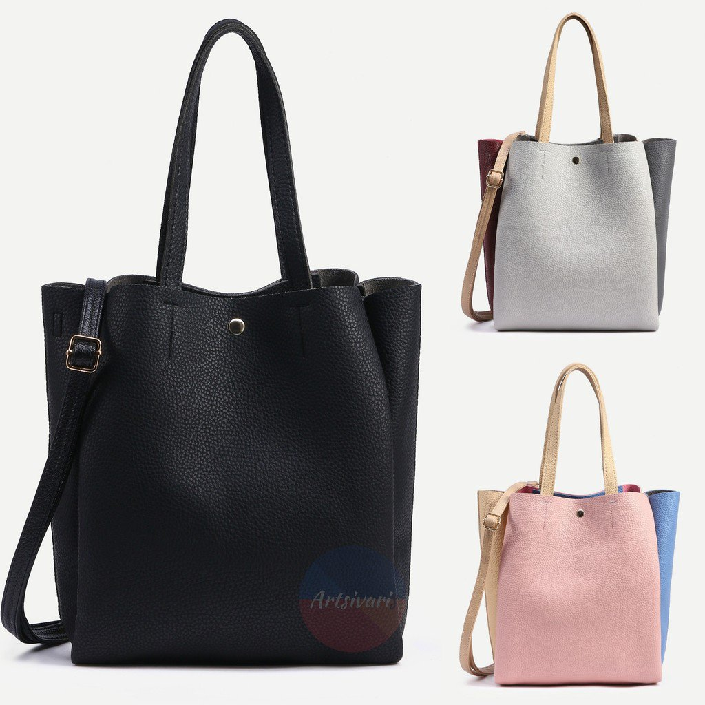 Artsivaris NEW Women Leather Tote Shopper Bag Casual Travel Messenger Purse Bag