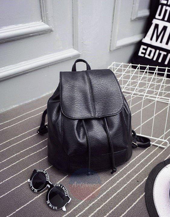 Artsivaris NEW Women Vintage Black Leather Backpack School Bag Travel Rucksack
