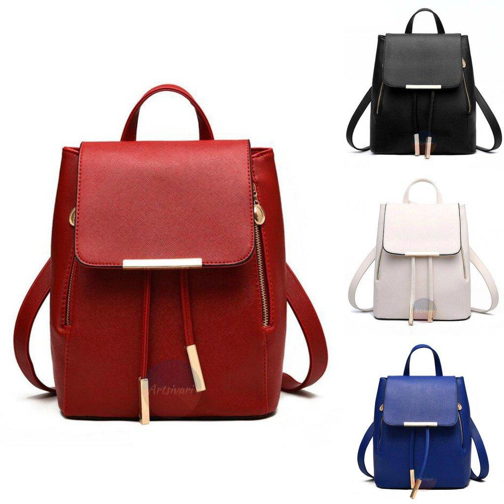 Artsivaris Women Leather Vintage Backpack Travel Casual Rucksack School Bag