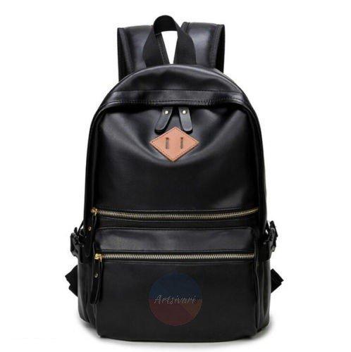 Stylish Men Women Black Leather Backpack Sport Travel School Book Shoulder Bag