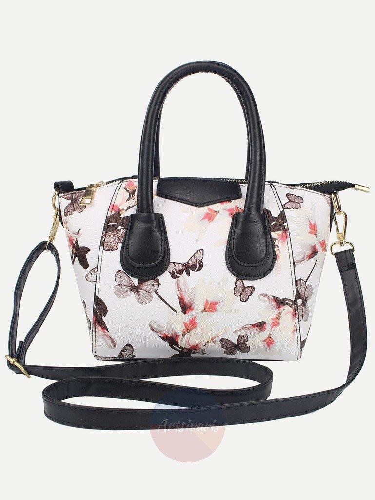 Artsivaris Women White Floral Leather Shoulder Bag Flower Messenger Travel Tote
