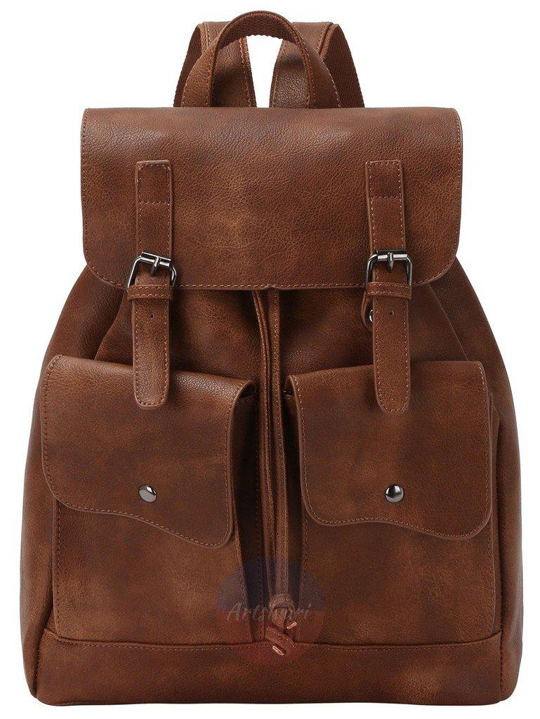 Artsivaris NEW Brown Leather Backpack College School Travel Vintage Satchel Bag