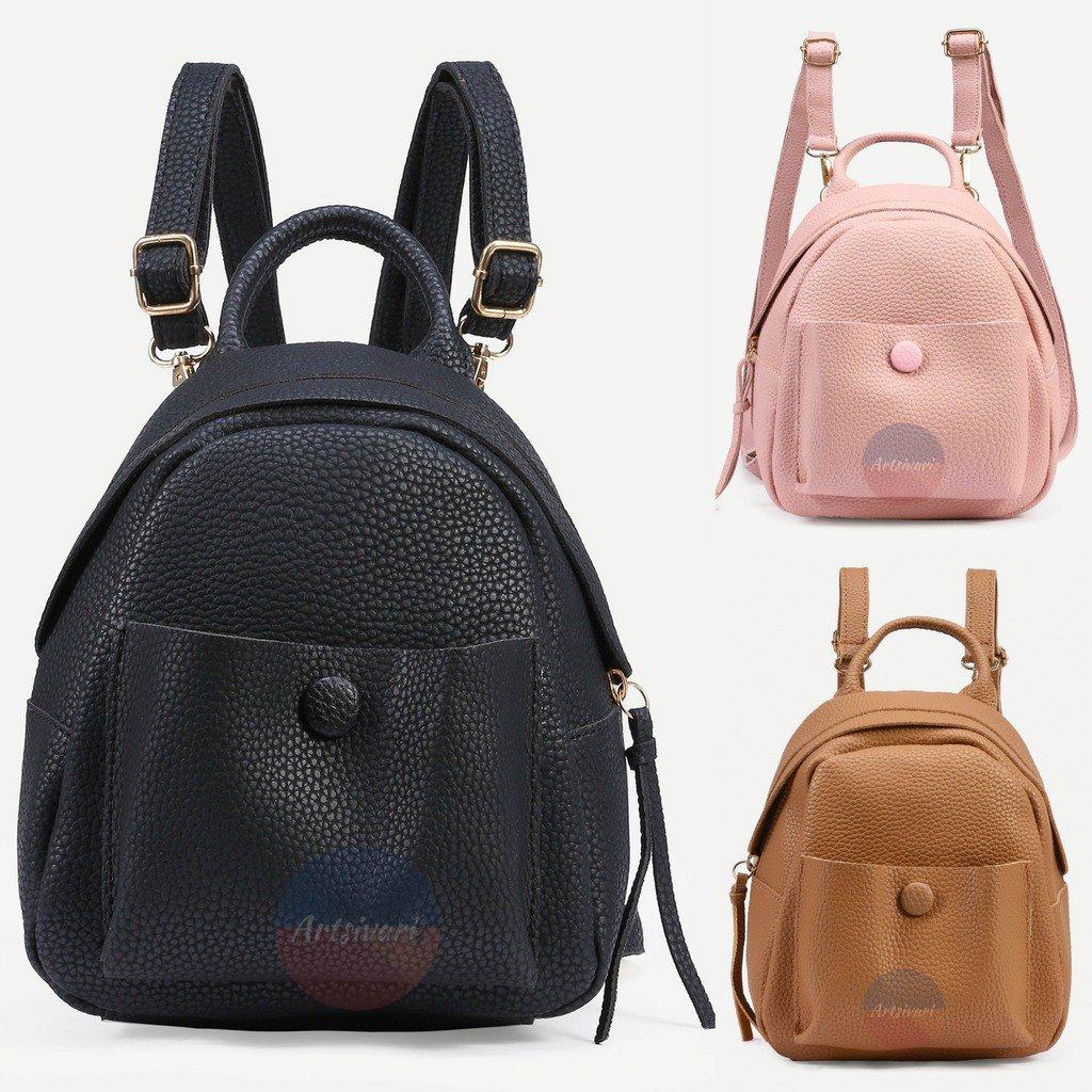 Stylish Pebbled Backpack Faux Leather Women Handbag Travel Casual Bag Rucksack