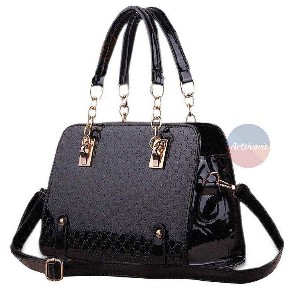 Stylish Women Handbag Black Leather Shoulder Bags Lady Messenger Purse Bag