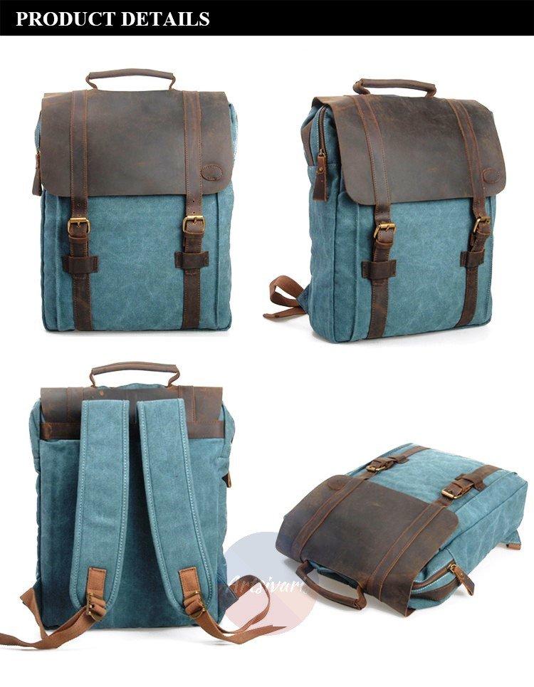 "Artsivaris New Vintage Large Canvas Leather Men Women Backpack 15"" Laptop Bag"