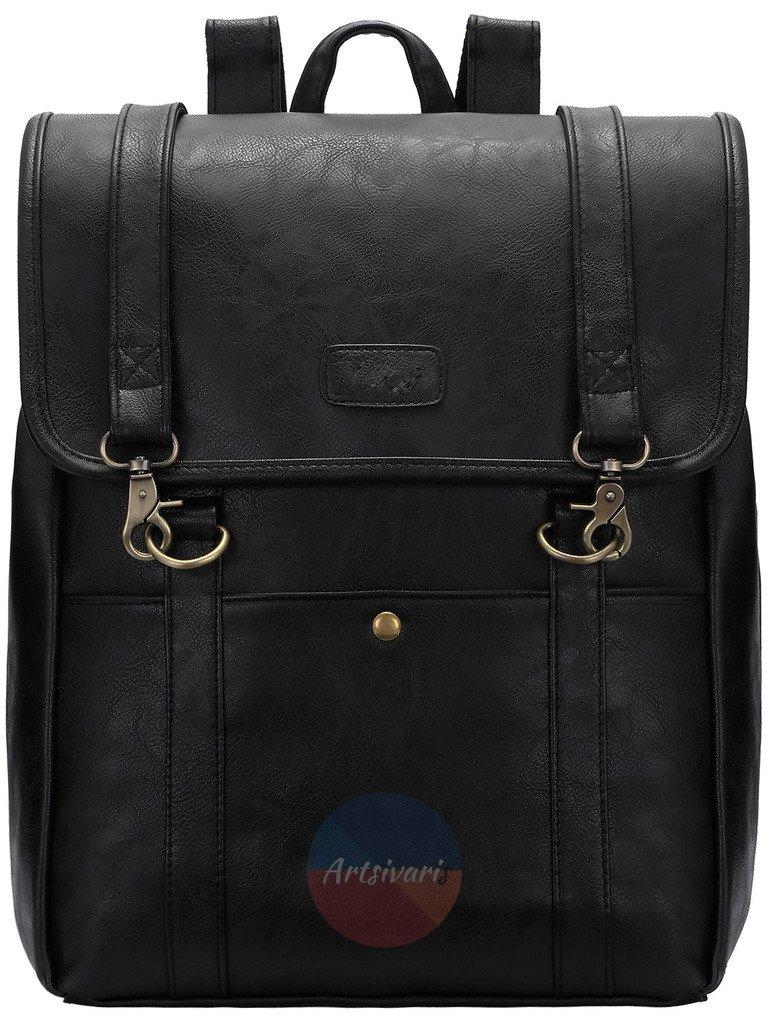 Stylish Women's Black Leather Satchel Backpack School Book Bag Travel Rucksack