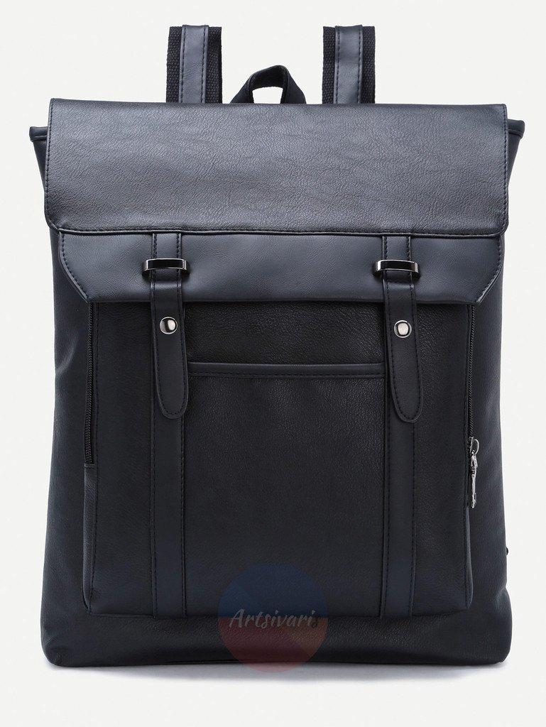 Vintage Black Leather Backpack Flap Buckle Shoulder Bag School Travel Rucksack