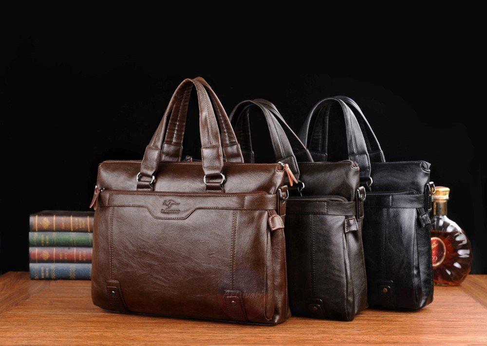 Artsivaris Men Business Briefcase Leather Laptop Computer Travel Messenger Bag