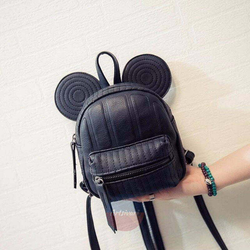 Stylish Mouse Ears Leather Bag Travel Mini Shoulder Casual Satchel Backpack
