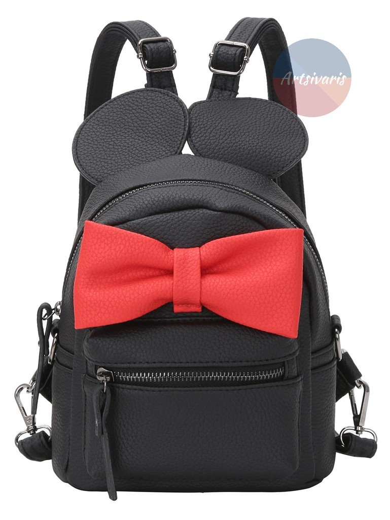 Stylish Mouse Black Red Oversized Bow Tie Bag Leather Women Backpack