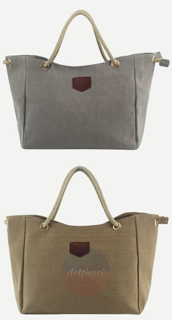 Artsivaris NEW Canvas Tote Rope Handle Casual Travel Shoulder Bag Purse