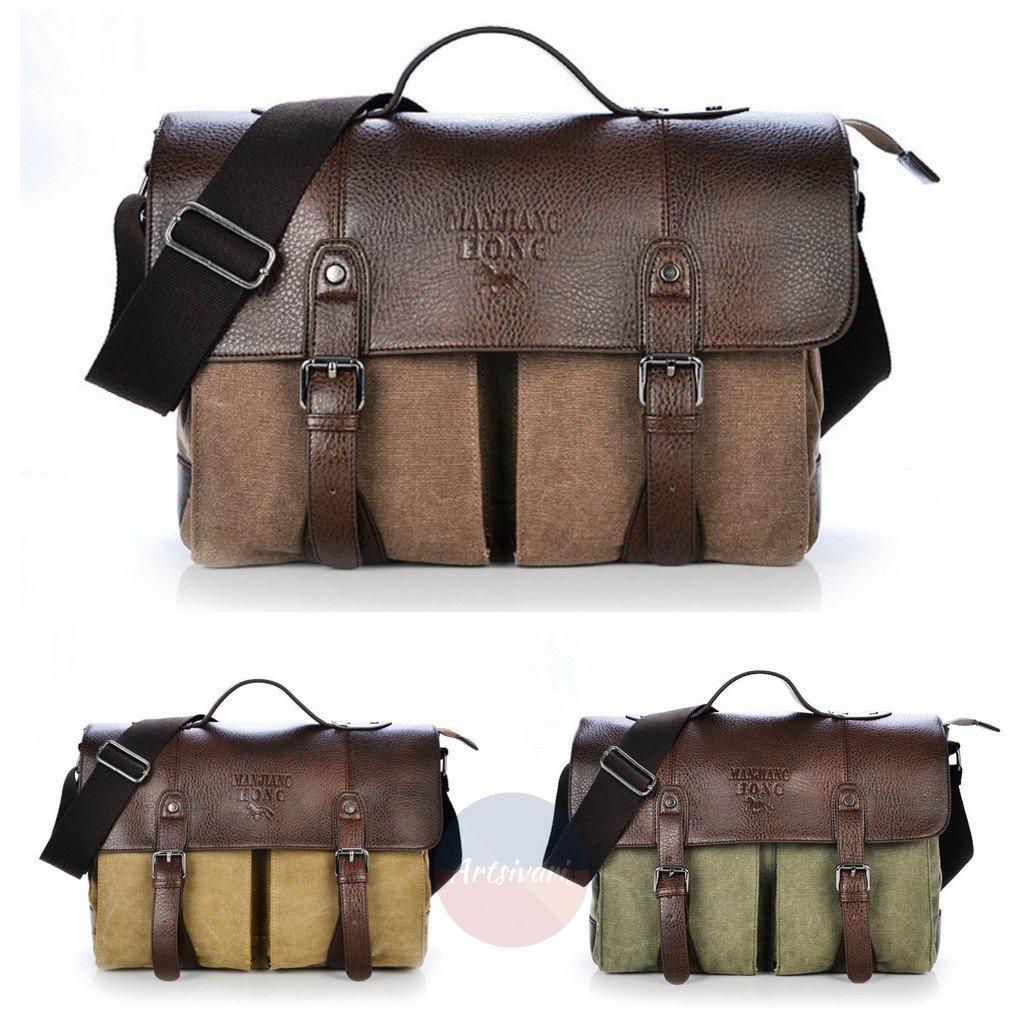 Artsivaris Men Canvas Leather Business Briefcase Travel Large Messenger Bag