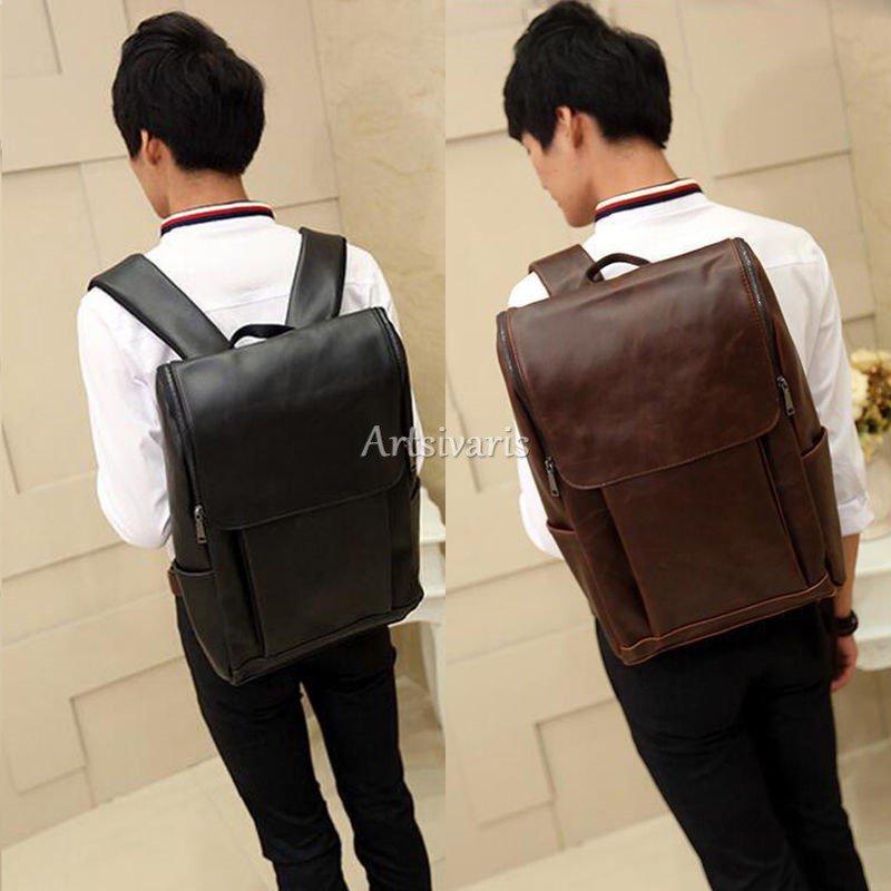 """Stylish Vintage Leather Backpack 14"""" Laptop Shoulder Bag Business Travel Satchel"""